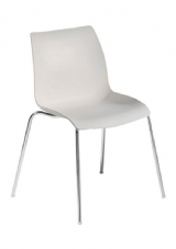 Laser Chrome & Plastic Stacking Side Chair in White